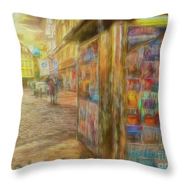Kiosk - Prague Street Scene Throw Pillow