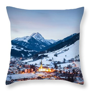 Kirchberg Austria In The Evening Throw Pillow