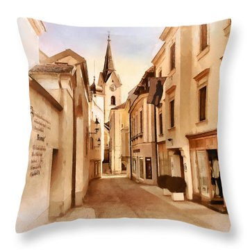 Kirchengasse In Ybbs Mit Loeb Geschaeft Throw Pillow by Menega Sabidussi