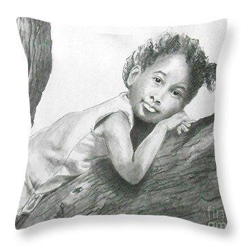 Kirikou, Dreaming -- Portrait Of Little African-american Girl Throw Pillow