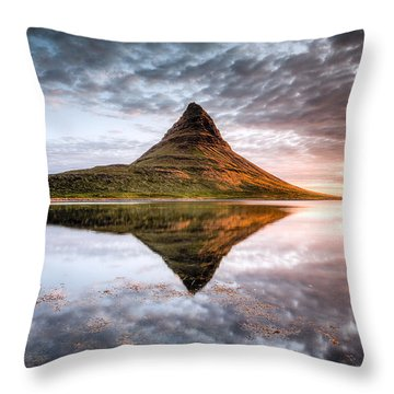 Kirkjafell Mountain Sunrise Throw Pillow
