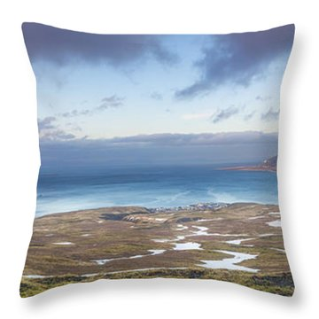 Kirkjufell And Grundarfjordur From On High Throw Pillow