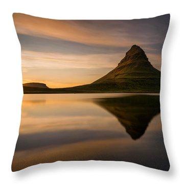 Kirkjufell Reflection Throw Pillow by Swen Stroop