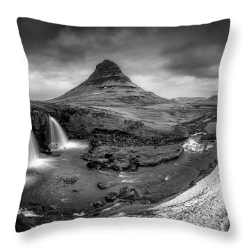 Kirkjufellsfoss Dawn Monochrome  Throw Pillow