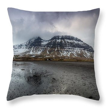 kirkjufellsfoss From Black Beach Throw Pillow