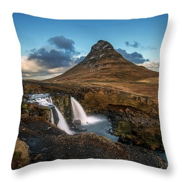 Kirkjufellsfoss Waterfall And Kirkjufell Mountain, Iceland Throw Pillow