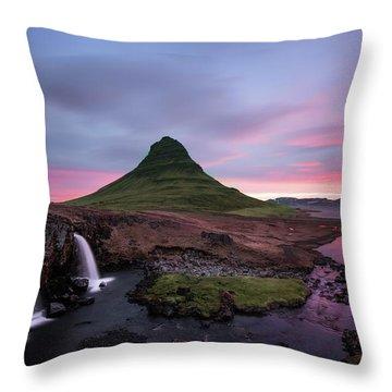 Kirkjufellsfoss Waterfalls Iceland Portrait Version Throw Pillow