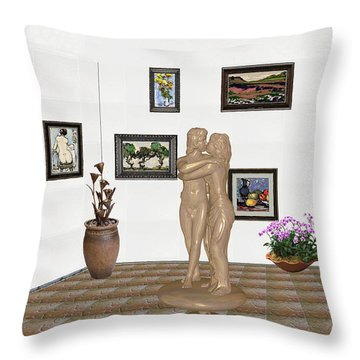 Throw Pillow featuring the mixed media Kiss 1 by Pemaro