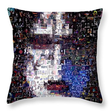 Kiss Ace Frehley Mosaic Throw Pillow