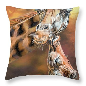 Throw Pillow featuring the mixed media Kiss For Mama by Carol Cavalaris