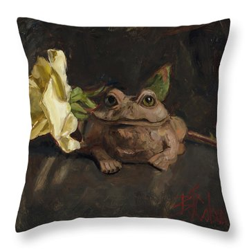 Throw Pillow featuring the painting Kiss Me And Find Out by Billie Colson