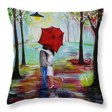 Kiss Me In The Rain Throw Pillow by Leslie Allen