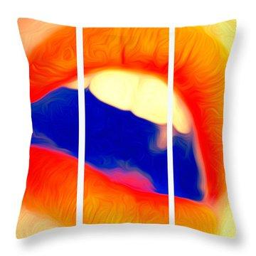 Kiss Me-triptych Throw Pillow