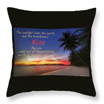 Kiss The Sea Throw Pillow by David Norman
