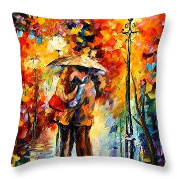 Kiss Under The Rain Throw Pillow by Leonid Afremov