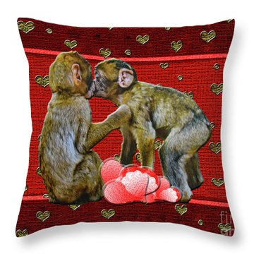Kissing Chimpanzees Hearts Throw Pillow