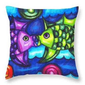 Kissing Fish Throw Pillow