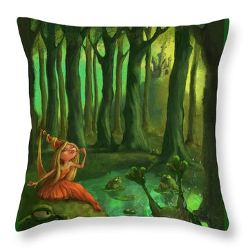 Kissing Frogs Throw Pillow by Andy Catling