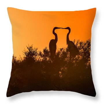 Kissing Herons  Throw Pillow