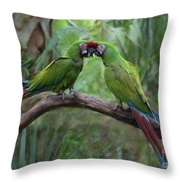 Kissing Macaws Throw Pillow