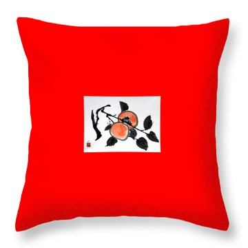 Kissing Persimmons Throw Pillow