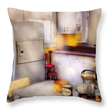 Kitchen - A 1960's Kitchen  Throw Pillow by Mike Savad