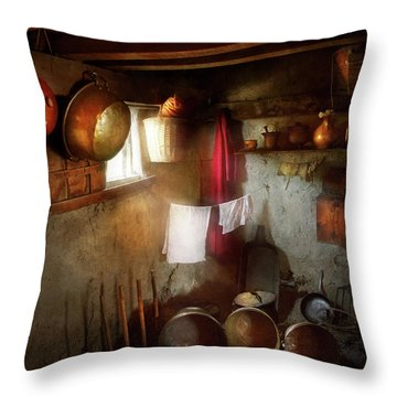 Throw Pillow featuring the photograph Kitchen - Homesteading Life by Mike Savad
