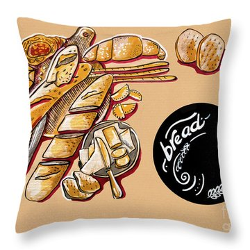 Kitchen Illustration Of Menu Of Bread Products  Throw Pillow
