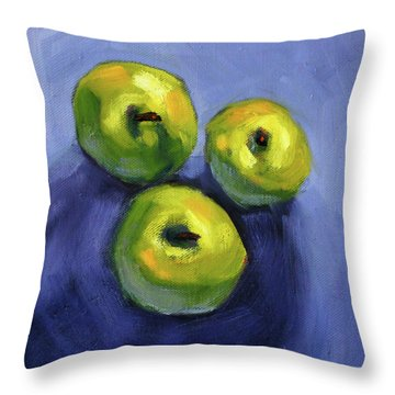 Throw Pillow featuring the painting Kitchen Pears Still Life by Nancy Merkle