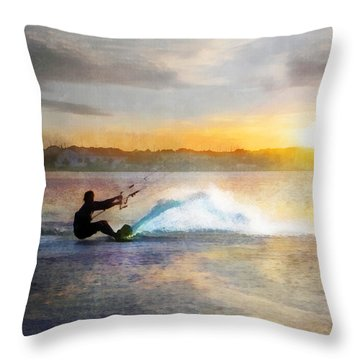 Kite Boarding At Sunset Throw Pillow