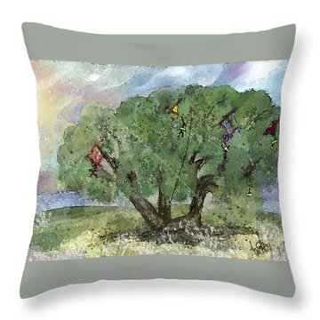 Kite Eating Tree Throw Pillow