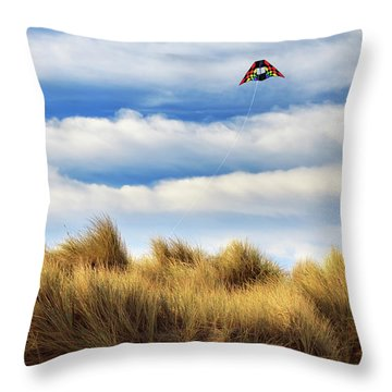Throw Pillow featuring the photograph Kite Over The Hill by James Eddy