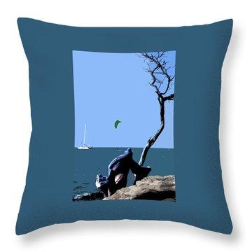 Kite Skiing At The Beach Throw Pillow by Karen Nicholson