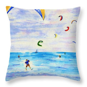 Kite Surfer Throw Pillow by Jamie Frier