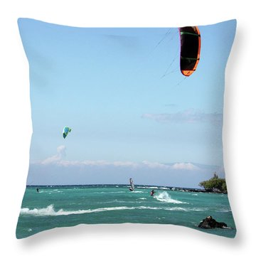 Kite Surfers And Maui Throw Pillow