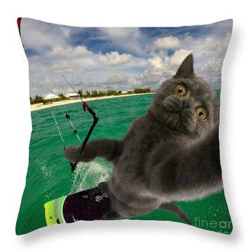 Kite Surfing Cat Selfie Throw Pillow