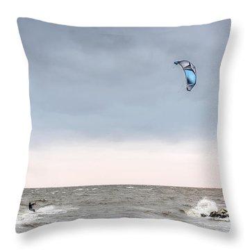Kite Surfing On The Chesapeake Bay Throw Pillow