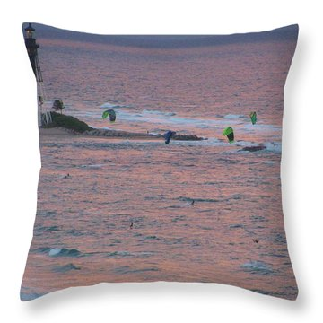 Kiteboarding At Hillsboro Throw Pillow