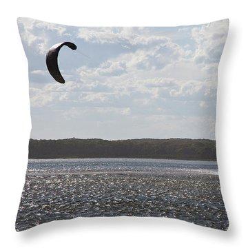 Throw Pillow featuring the photograph Kiteboarding by Miroslava Jurcik