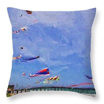 Kites At The Flagler Beach Pier Throw Pillow