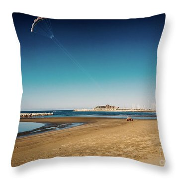 Kitesurf On The Beach Throw Pillow