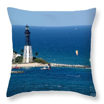 Kitesurfing And More At Pompano Throw Pillow