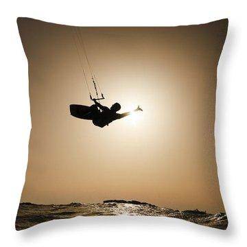 Kitesurfing At Sunset Throw Pillow by Hagai Nativ