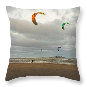 Kitesurfing On Revere Beach Throw Pillow