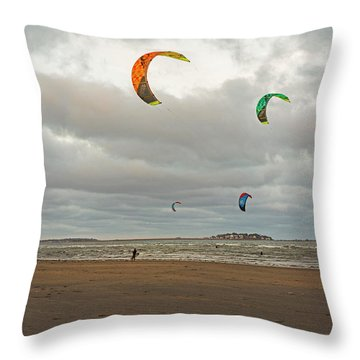 Kitesurfing On Revere Beach Throw Pillow