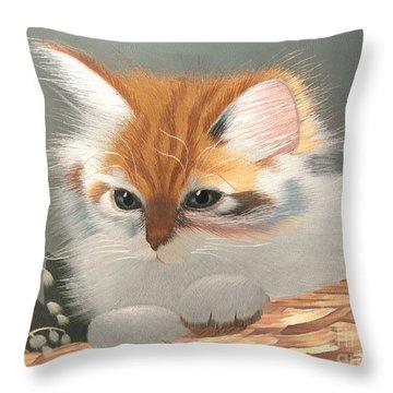 Kitten In A Basket Throw Pillow by Sergey Lukashin