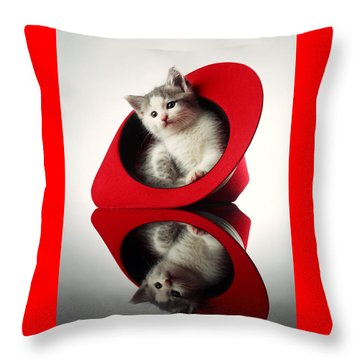 Kitten In The Hat Throw Pillow