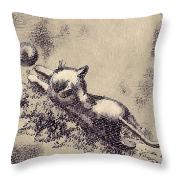 Kitten Playing With Ball Throw Pillow