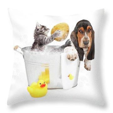 Kitten Washing Basset Hound In Tub Throw Pillow