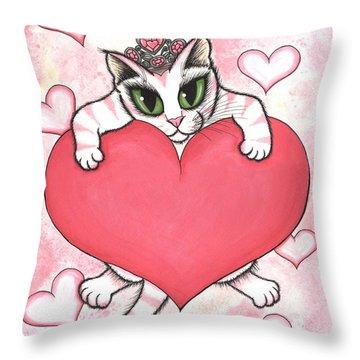 Kitten With Heart Throw Pillow